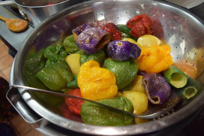 One dish was stuffed veggies and grape leaves. it required several sets of hands to cook, empty and then stuff the various veggies.