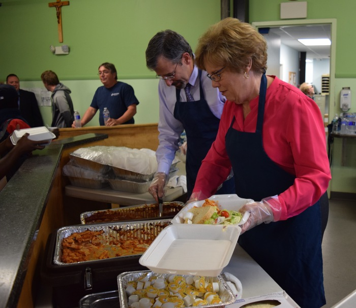 Sister Donna and Mike Melara served up a meal of pasta and meatballs for shelter residents. The meal was prepared by students in our culinary program CASS.